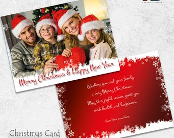Happy Holidays Card Design - Christmas Photo Card Template - Christmas Greeting Card Printable - Printable Card Template INSTANT DOWNLOAD