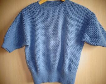Blue jean women openwork sweater size 40/42 short sleeve hand knitted