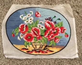 Needlepoint picture of bouquet of flowers
