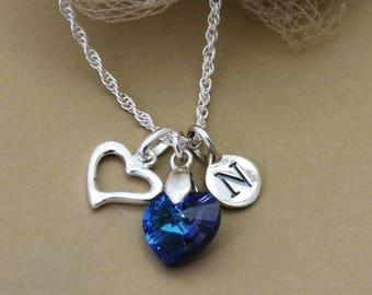 Personalized Silver Initial Necklace, Sterling Silver Heart Birthstone Necklace, Sapphire Crystal Charm Necklace, Gift for Her