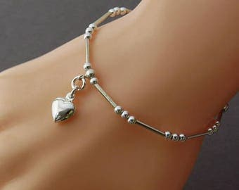 Sterling Silver Bead Charm Bracelet, Silver Heart Charm Bracelet, Gift for Wife