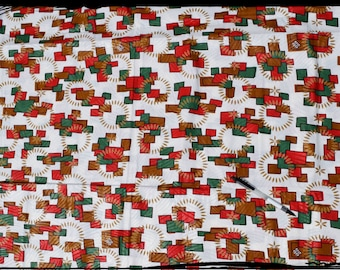 "coupon ""bricks"" African wax fabric"