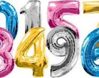 """40"""" Number balloons various colours"""