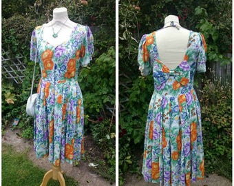 1980's Blue and Orange Floral Cotton Day Dress with Back Bow Detail
