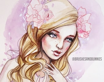 Lilac Flowers - Original Watercolor & Mixed Media Painting. Feminine portrait of a woman with purple and pink flowers.