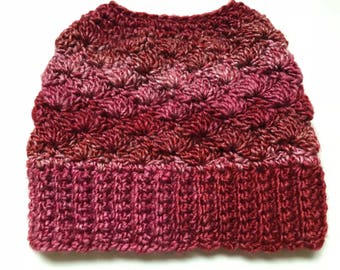 Red and Pink Shell Pattern Messy Bun Hat