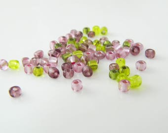 Green and purple round bead set 3mm 5g (l92)