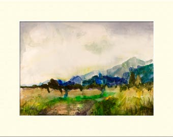 "landscape with Mountains, Watercolors, Print 12"" x 16"" inc. Mount"