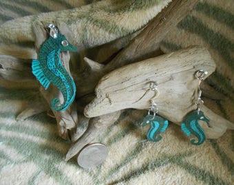 Sea horse pendant & earring set