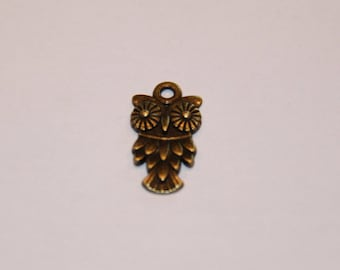 BRONZE OWL CHARM FOR JEWELRY
