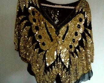 Vintage Gold and Black Poncho-Style Sequin Butterfly Top