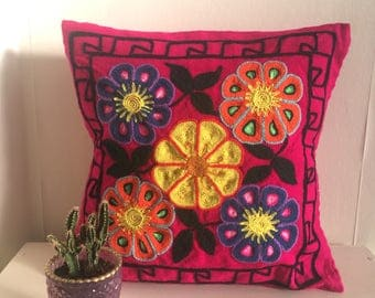 Bright pink and  Colourful cushion cover, Artisan, bohoo, pillow, south american embroided, peruvian wool.