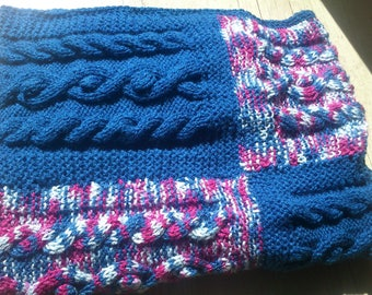baby blanket knit, handmade blue with cables