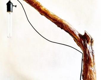 TALL WOODEN LAMP-wood design unique handmade unique piece vintage iron Woo root light bajour studio Office brera