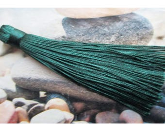 1 large tassel 12cm Pine Green cotton yarn