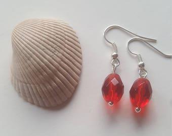 Red Dangle Earrings / Red Beaded Earrings