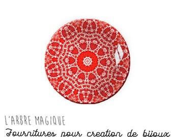2 Cabochons to glue glass 18 mm red 860 Mantra mandala