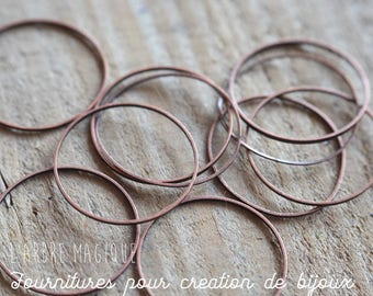 Large rings thin copper not dimensions 25 mm x 10