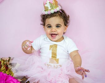 Baby girl first birthday outfit, Personalized onesie,  Smash the cake outfit, Hebrew/English, birthday crown, ballerina, 1st birthday outfit