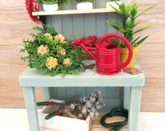 Dollhouse Furniture, Miniature Potting Bench, Dollhouse Potting Bench, Miniature Furniture, Garden Bench, Garden Potting Bench, Handmade
