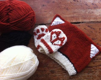 Baby Fox and Mittens Knitting Pattern