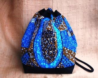 Backpack in wax, ethnic African fabric bag, bucket bag, Bohemian, backpack or shoulder strap, blue wax papaya