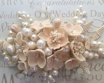 Peach flower bridal comb