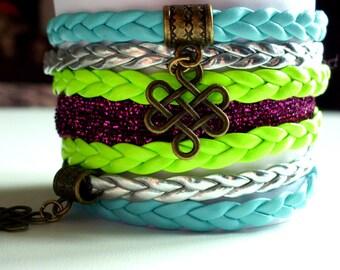 Cuff Bracelet liberty, Chinese knots, leatherette, 35 mm