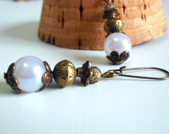 Vintage, white chandelier and bronze earrings