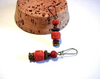Vintage earrings, antique bronze and stone