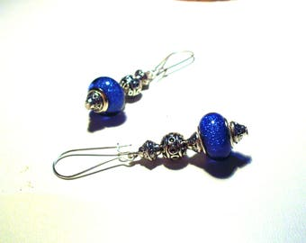 Shabby chic earrings, blue glitter