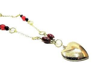 Saint Valentin, Collier ethnique, femme, perles, pendentif, coeur, bohème, rouge, noir, doré