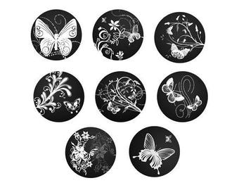 16mm, 8 cabochon Butterfly
