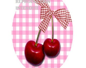 pretty cherries 18x25mm pink bow, gingham background