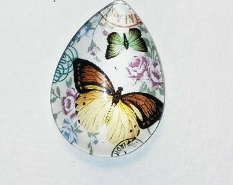 cabochon 18 x 25, 2 butterflies, shape drop