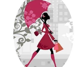 pretty cabochon 18x25mm, pink umbrella, woman