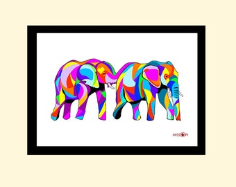 Elephant Art Print, Colourful Art, Animal Art, Safari, Elephant Poster, Home Decor, Wall Art, Home Living, Wall Decor
