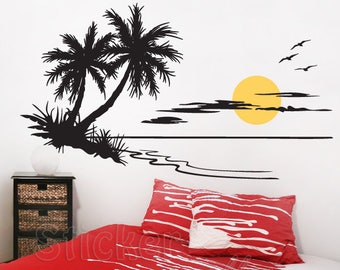 Wall sticker beach sunset vinyl, wall decal sticker, wall decoration, eco removable vinyl with ISO 14001, easy to install.