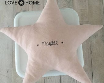 Star linen cushion