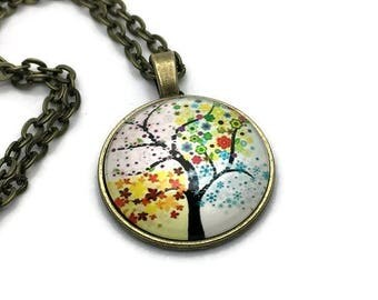 Four Seasons Tree Of Life Pendant Wheel Of The Year Necklace