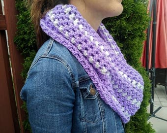 Crochet Infinity Scarf Purple and White