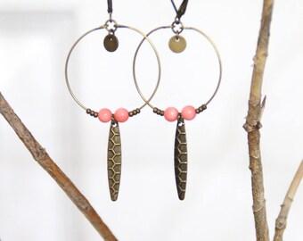 Hoop earrings / pink coral beads & brass