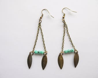 Leaf earrings and triangle beads