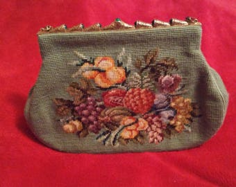 Antique needlepoint handbag/ purse(Switkes)