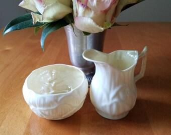 Belleek; Cream and Sugar bowl; Vintage Belleek