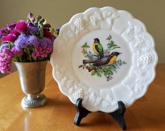 Westmoreland Glass plate, paneled grape, birds