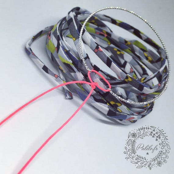 MY Silver Bangle (plated) BY PALILO jute and a small cord colorful (of your choice)