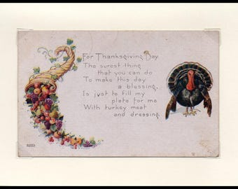 Fill My Plate Thanksgiving Vintage Greeting Card