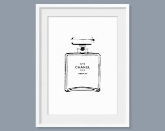 Chanel stencil print, Perfume print, Coco Chanel perfume print, Wall art, Home Decor, Home decoration, Chanel no 5 print, Gift