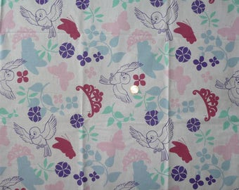 """Fabric cotton theme """"Birds, BUTTERFLIES and crowns"""""""